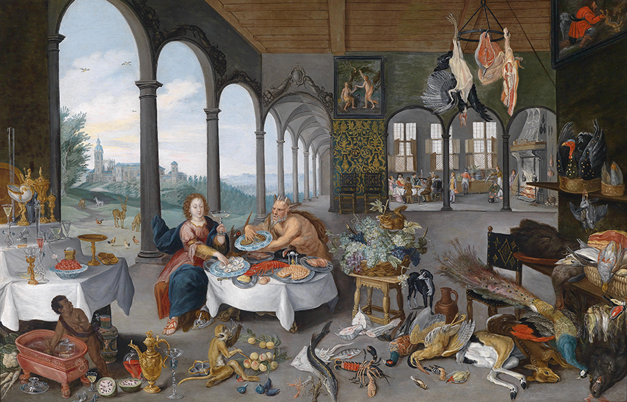 Jan Brueghel II (1601–1678), An Allegory of Taste, Oil on copper, 59.4 x 91.4 cm, Old Master Paintings auction, April 2012