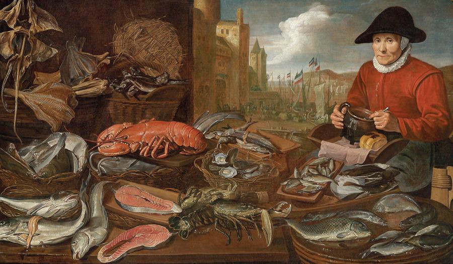 Hans van Essen (Antwerpen 1587/89 – nach 1648 Amsterdam) Fischmarkt, signiert unten links: HVEssen, Öl auf Leinwand, 111 x 189,5 cm, gerahmt