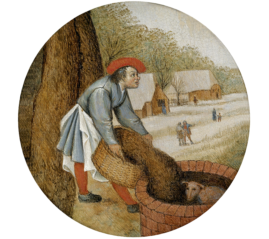 Pieter Brueghel II (1564–1637/38), The Farmer Fills in the Well after the Calf has Fallen In (from the Proverbs series), Oil on panel, 17 cm diameter, Old Master Paintings auction, April 2013