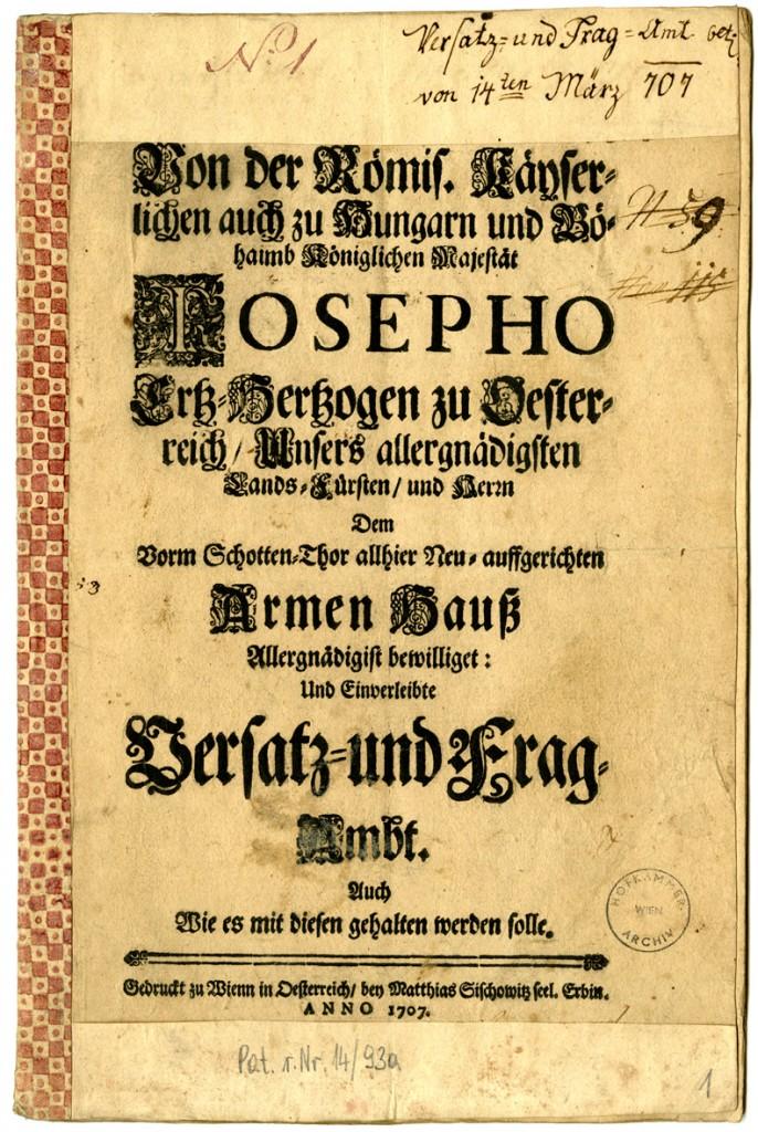Founding patent of the Versatz-, Versteigerungs- und Verwahrungs-Amt
