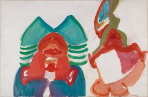 """Maria Lassnig, """"Zwei Figuren"""", 1962, Schätzwert € 130.000 - 180.000"""