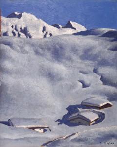 Alfons Walde (Oberndorf 1891–1958 Kitzbühel) Almen im Schnee, um 1935, Öltempera auf Karton, 57 x 46 cm, erzielter Preis € 393.400