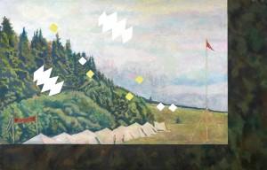 Ilya Kabakov (Dnjepropetrovsk/Ukraine 1933 geb),  Landschaft mit Pionierlager 1973, 2002, Öl auf Leinwand, 160 x 250 cm, erzielter Preis € 491.000