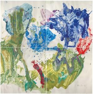 """Max Weiler (Hall, Tirol, 1910–2001 Wien) """"Welt des Wachstums"""", 1987, Eitempera auf Leinwand, in 4 Teilen, Gesamtgröße 360 x 360 cm, erzielter Preis € € 393.400"""