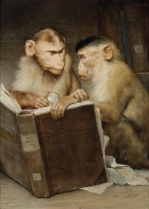 Darstellung von gelehrten Affen beim Lesen in Gemälde des 19. Jahrhunderts von Gabriel Ritter von Max