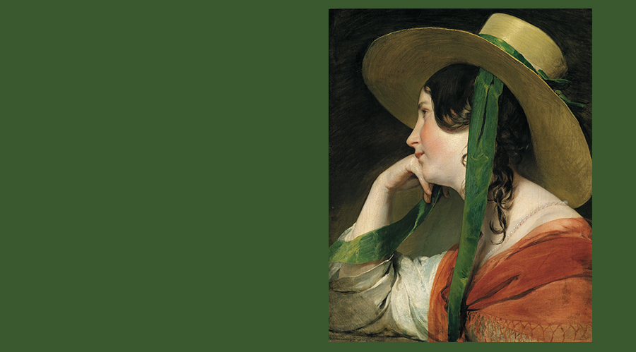19th century painting of girl in straw hat