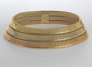 Bulgari Halsreif Tubogas Gold, Weißgold, Roségold 750 Länge ca. 36 cm, signiert, um 1980 Schätzwert € 9.000 – 14.000 Auktion Juwelen 2. Juni 2016