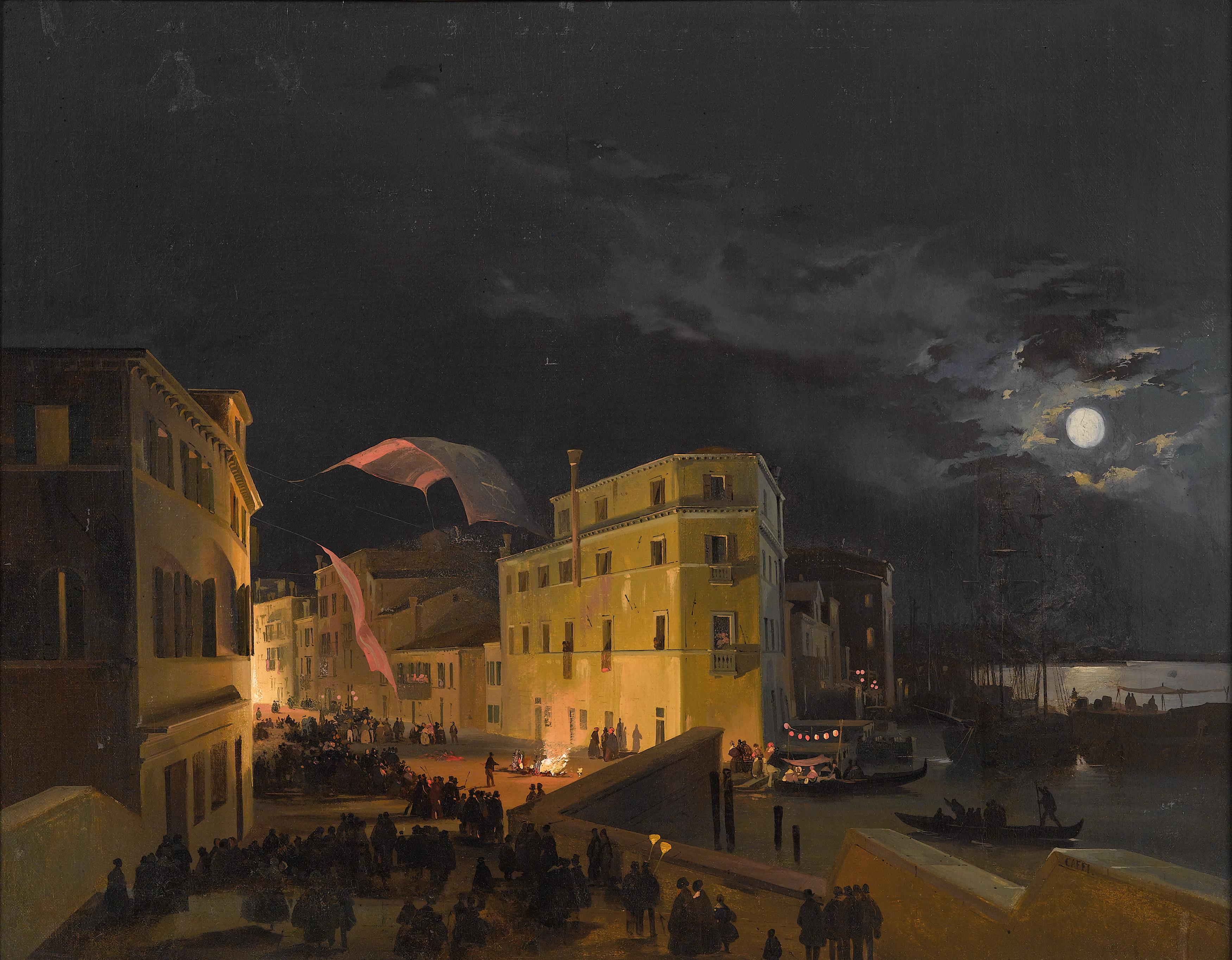 Ippolito Caffi, Venice, Nocturnal feast in Via Eugenia, 52 x 66 cm, Estimate € 40,000 - 60,000, 19th Century Paintings auction, 21st April 2016; EUR 161.600 ,- /  USD 183.500 ,-