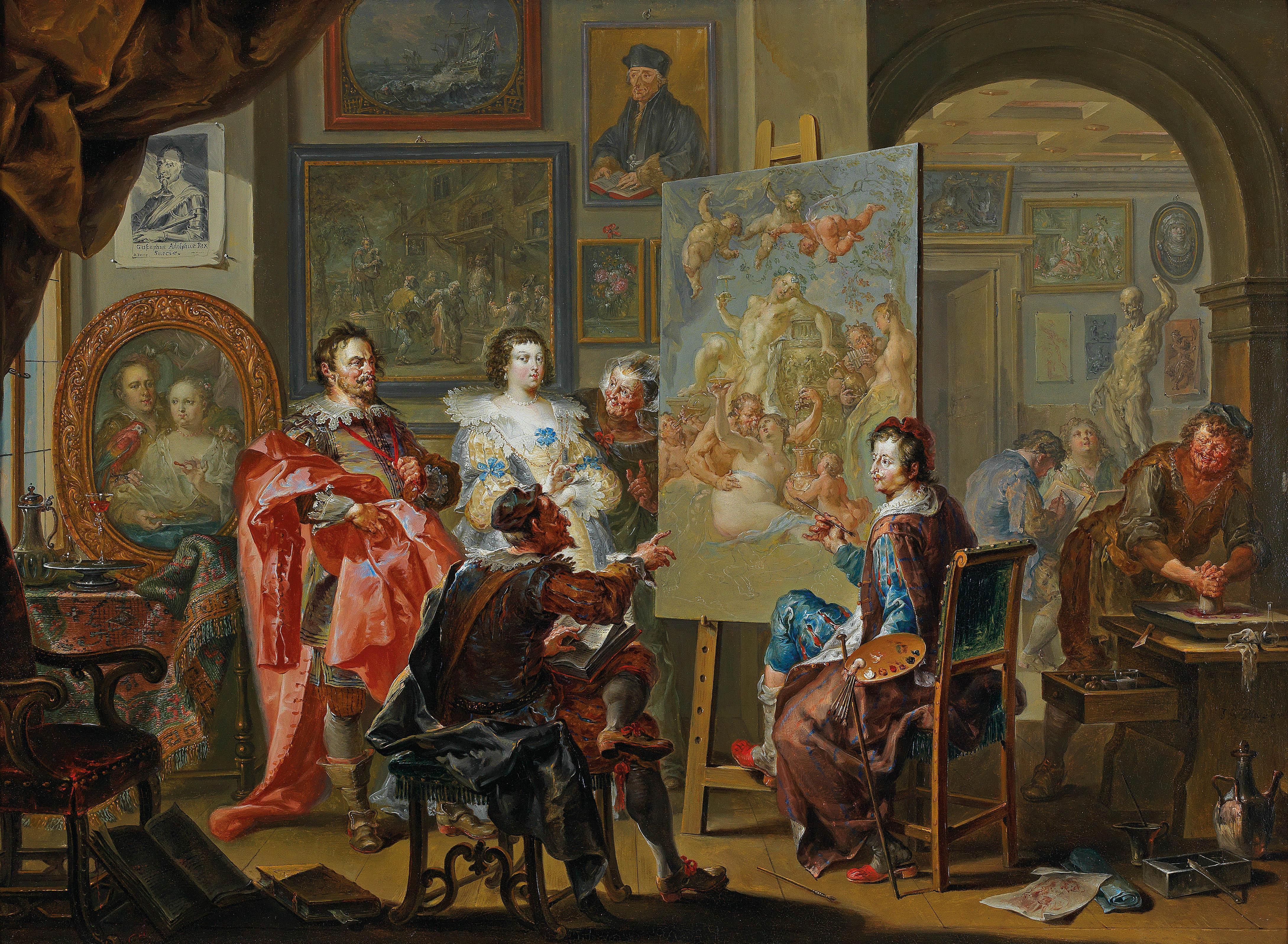 """""""Im Atelier des Malers"""", Johann Georg Platzer"""