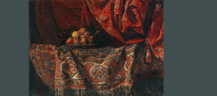 Still life painting with carpet, Francesco Noletti