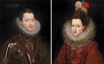 Franz Pourbus II. Werkstatt Bildnisse Philip II. von Spanien und seiner Gemahlin Margarete von Österreich. Auktion Alte Meister, Oktober 2015