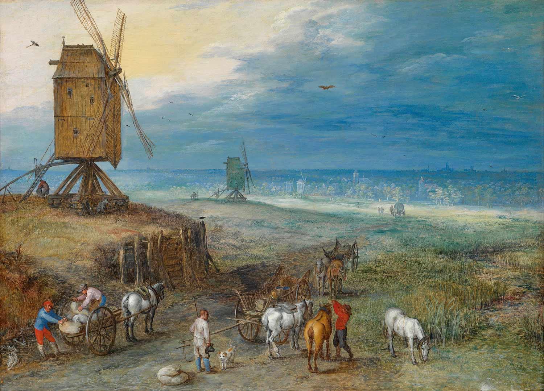 Jan Brueghel I, (1568 – 1625), Die Rast an der Windmühle, Auktion Alte Meister, April 2015