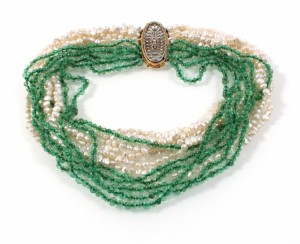 jewellery photo of emerald pearl necklace, starting price: €1,000