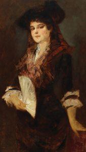 Hans Makart Bildnis einer Dame mit Fächer Öl auf Holz, 116 x 68 cm Schätzwert € 40.000 – 60.000