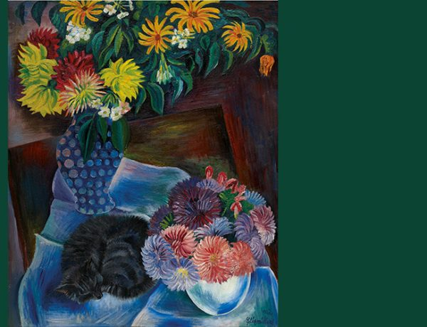 Cat art: Conrad Felixmüller, Katze mit Herbstblumen (cat with autumn flowers)