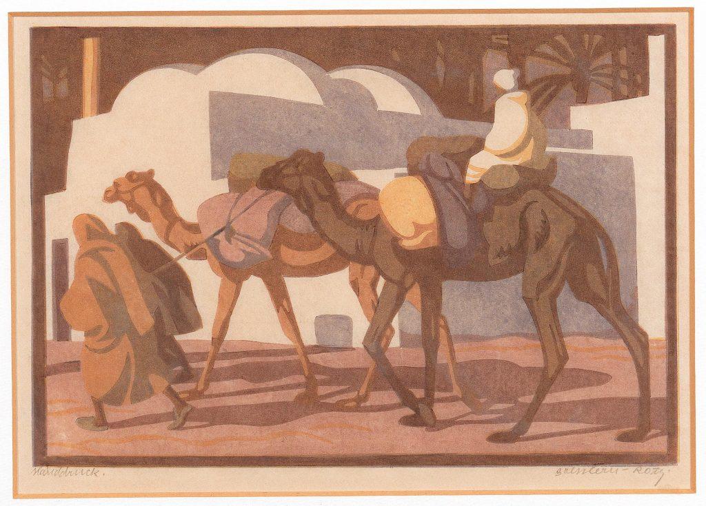 "Norbertine Bresslern-Roth ""Marabut"", 1928, Linolschnitt in Farbe, Stockgröße 17,5 x 26 cm Rufpreis € 600 Auktion Modernism and beyond, 28. November 2016"