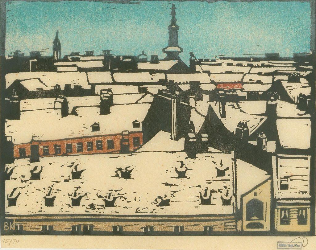 """Broncia Koller-Pinell """"Alte Dächer - Freihaus"""", Holzschnitt in Farbe, Nr. 15 von 70 Bildgröße 38,5 x 43,5 cm Erzielter Preis € 1.625"""