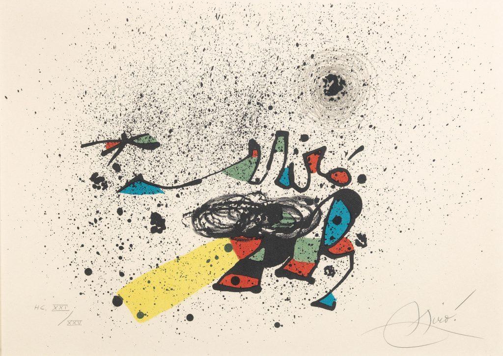 """Joan Miro Einladung zur Eröffnung der Ausstellung """"Mir¢"""" Galerie Maeght, Barcelona, 1978, Lithographie in Farbe auf Arches erzielter Preis € 1.875"""