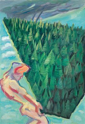 "Maria Lassnig ""Der Wald"", 1985, Öl auf Leinwand, 205 x 140 cm, erzielter Preis € 491.000"