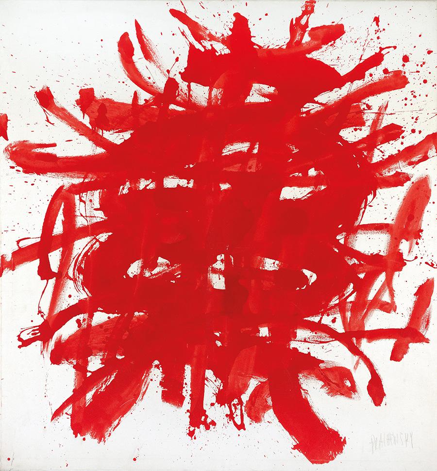 "Markus Prachensky, ""Rouge sur blanc-avant Seckau"" (Sebastianplatz), 1959, 150 x 140 cm, erzielter Preis € 75.000"