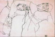Egon Schiele, Zwei nach rechts Geneigte, 1914, Bleistiftzeichnung, 32 x 47,5 cm, erzielter Preis € 472.400