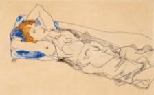 Egon Schiele, Auf einem blauen Polster Liegende mit goldblondem Haar (Wally Neuzil), Gouache, Aquarell, Bleistift auf Papier, 28,8 x 45,7 cm, erzielter Preis € 720.000