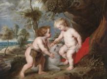 """Peter Paul Rubens und Werkstatt, Der """"Spinola""""-Rubens, Der Christusknabe mit dem kindlichen Johannes dem Täufer, Öl auf Leinwand, 111,7 x 148,9 cm, erzielter Preis € 558.030"""