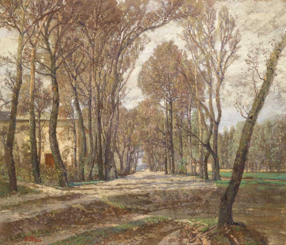 Tina Blau, Beim Atelier der Künstlerin, Prater 1907, Öl auf Leinwand, 90 x 105 cm, erzielter Preis € 97.900