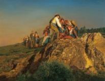 Ferdinand Georg Waldmüller, Die unterbrochene Wallfahrt, 1853, Öl auf Holz, 45,5 x 57,5 cm, erzielter Preis € 1.320.000
