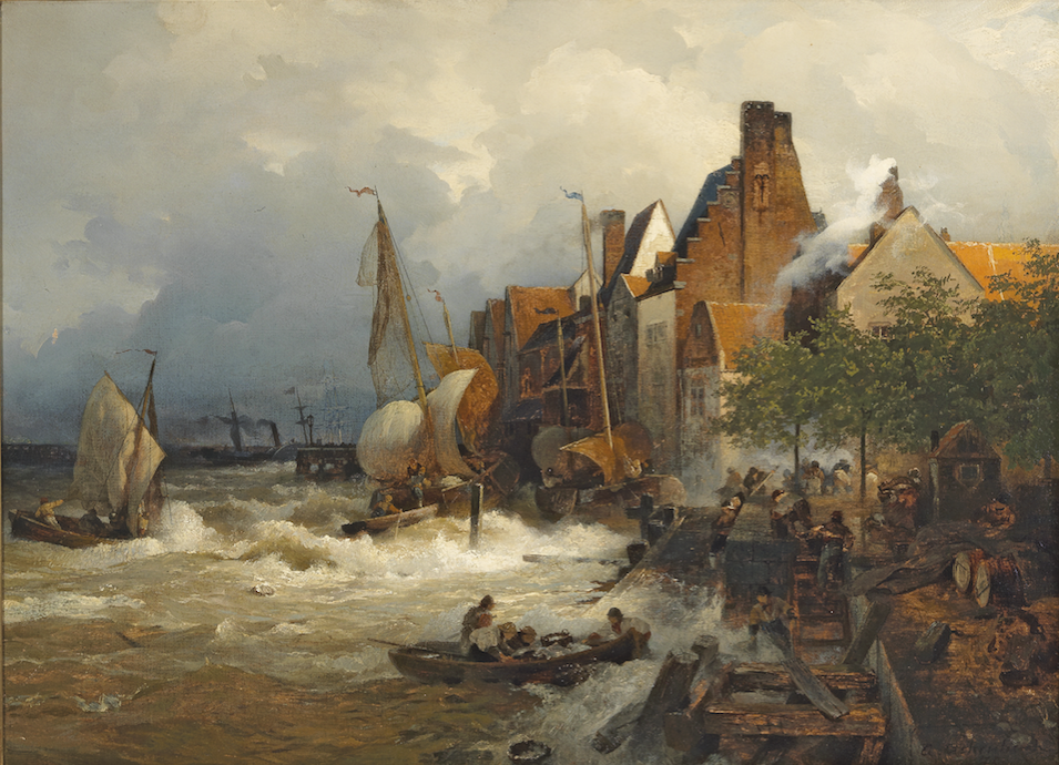 Andreas Achenbach, Heimkehrende Fischer bei stürmischer See, 1871, Öl auf Leinwand, 70,5 x 96 cm, Schätzwert € 12.000 – 16.000