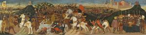 Apollonio di Giovanni, Die Schlacht von Pharsalos, Tempera auf Gold auf Holz, 40 x 157,2 cm, erzielter Preis € 674.000