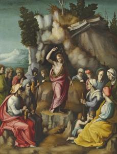Francesco Ubertini, il Bachiacca (1494-1557), Die Predigt des heiligen Johannes des Täufers, Öl auf Holz, 77,5 x 60 cm, Schätzwert € 100.000 – 150.000
