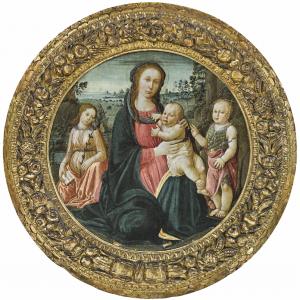 Jacopo del Sellaio (1441-1493), Madonna mit Kind, dem HL Johannes und Engel, Tempera auf Holz, 83,3 cm Durchmesser, Schätzwert 250.000 – 300.000