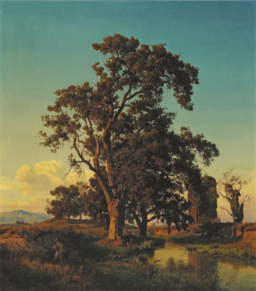 Oswald Achenbach, Der große Baum im Abendlicht, 1852, Öl auf Leinwand, 99 x 88,5 cm, Schätzwert € 12.000 – 18.000