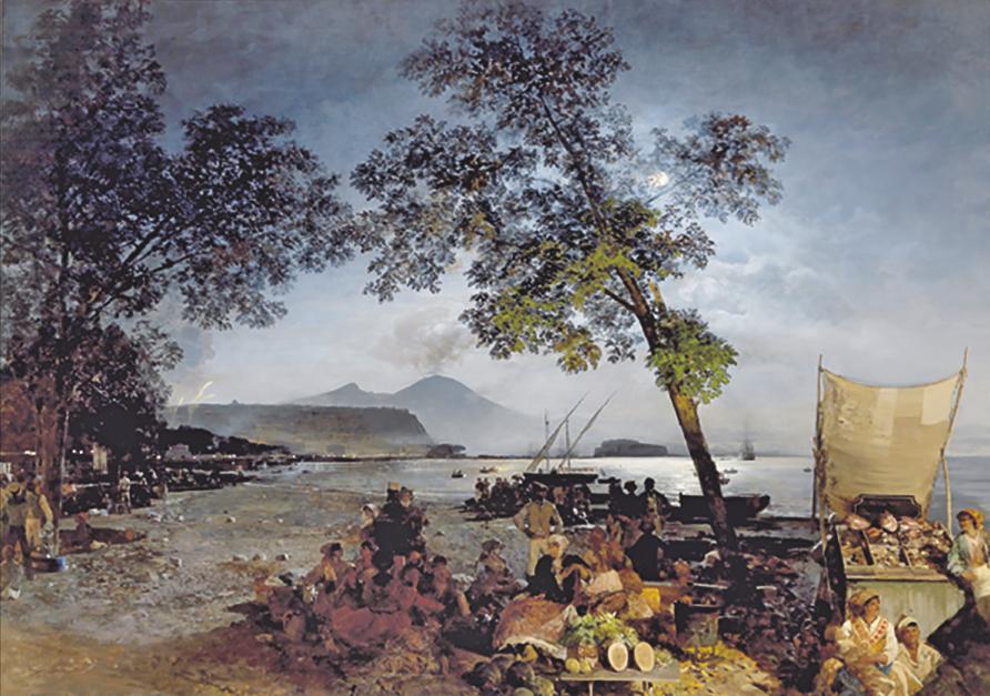 Oswald Achenbach, Ein geselliger Sommerabend in der Bucht von Neapel, 1853, Öl auf Leinwand, 139 x 197 cm, erzielter Preis € 204.000