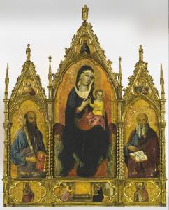 Toskanische Schule, 14./15. Jh., Madonna mit Kind und Heiligen, Tempera auf Holz, Goldgrund, 220 x 170 cm, Schätzwert € 80.000 – 120.000