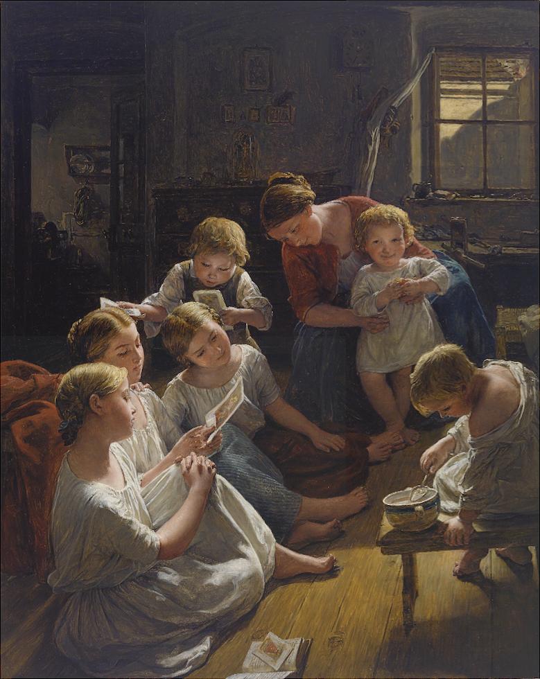 Ferdinand Georg Waldmüller, Kinder am Morgen Bilder betrachtend, 1853, Öl auf Holz, Schätzwert € 400.000 – 500.000