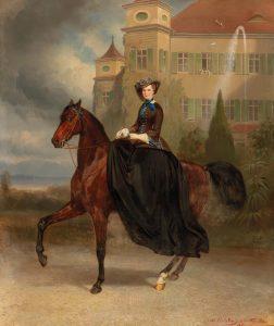 Carl Theodor von Piloty und Franz Adam, Kaiserin Elisabeth als Braut zu Pferd in Possenhofen, erzielter Preis 1,54 Mio.