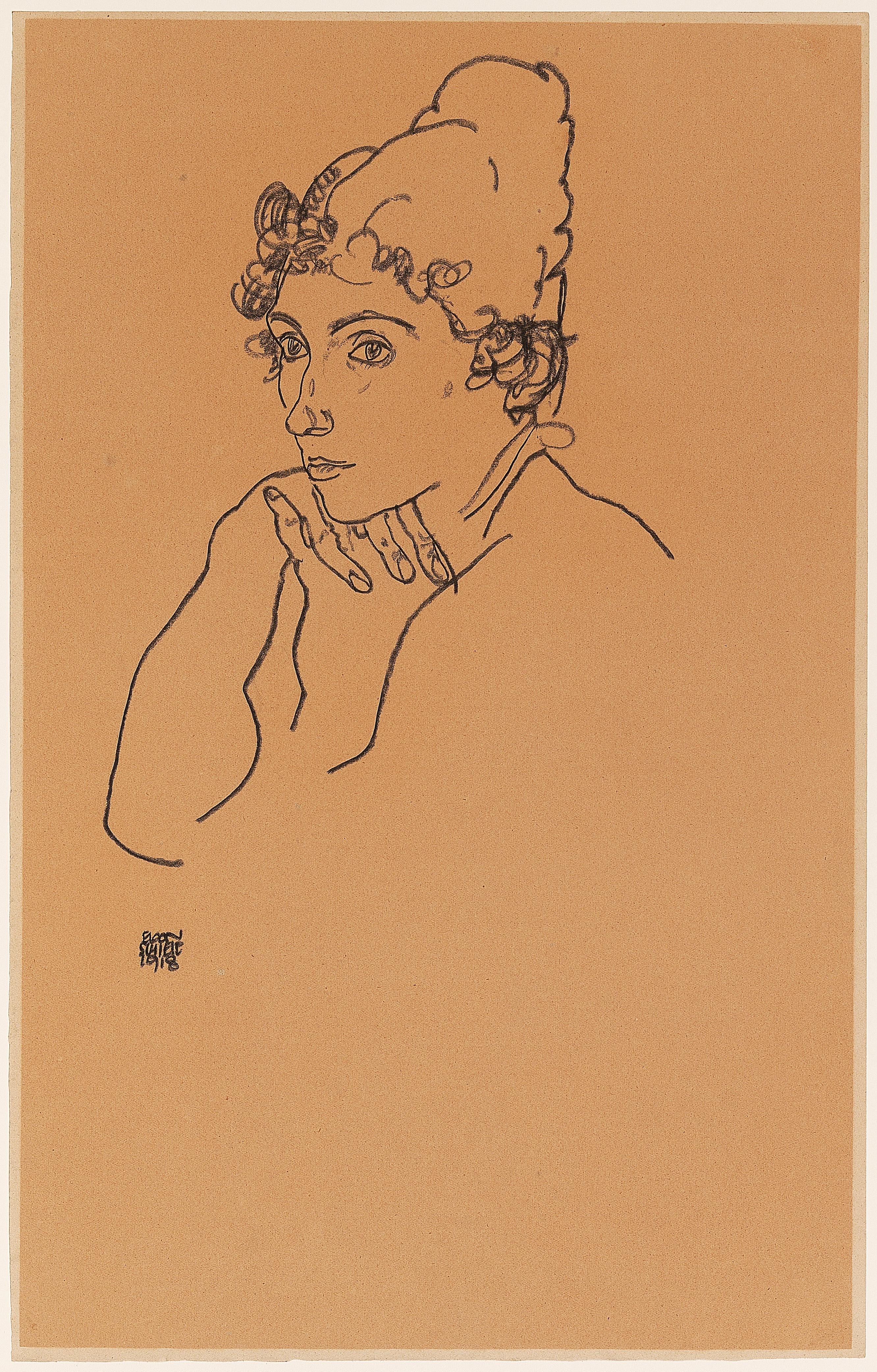 Egon Schiele, Frauenkopf,