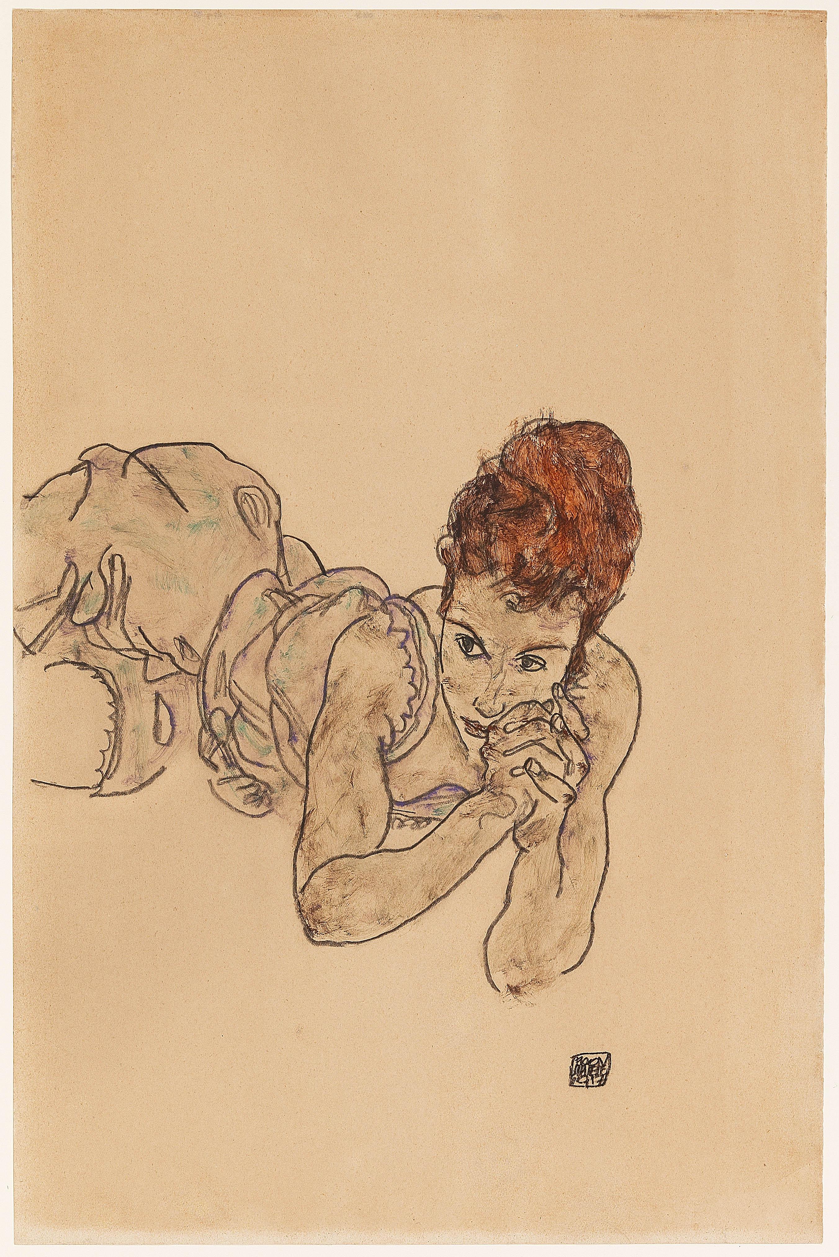 Egon Schiele, Liegende Frau, 1917
