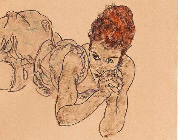 Egon Schiele liegende Frau
