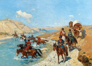 Franz Roubaud (1856–1928), Crossing of the river, oil on canvas 59 x 83.5 cm, estimate € 35,000 – 45,000