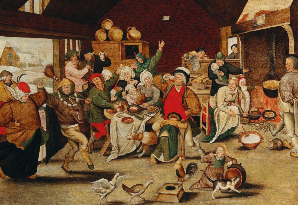 """""""Der Bohnenkönig"""" von Pieter Brueghel d.J. zeigt das wilde Feiern von Bauersleuten: Ein Paar tanzt aus einer verschneiten Dorflandschaft in die Bauernstube hinein, Katzen und Hühner tollen auf dem Boden herum, Zecher wiegen sich Arm in Arm und sitzen grölend um einen Tisch versammelt. Wer die begehrte Bohne in seinem Kuchenstück findet, wird feierlich zum König ernannt und darf seinerseits einen Hofstaat ernennen: Musiker, Vorkoster, Koch und Hofnarr sind hier Programm."""