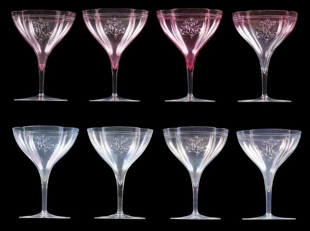 Kralik-Champagnergläser mit ligiertem Monogramm
