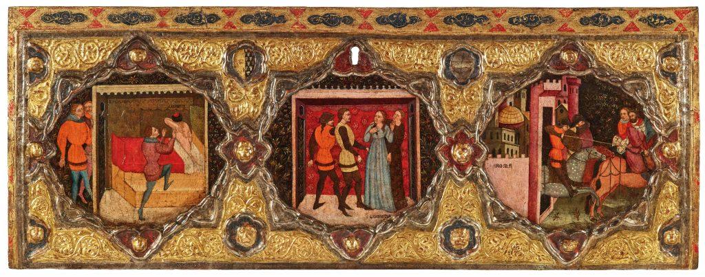 Bei diese Holzmalerei, welche die Schändung der Lukrezia in drei Szenen bebildert, ist für Feiern kein Platz, owbohl sie aus einer Hochzeitstruhe geborgen wurde. Sie verweist darauf, dass das Thema im Florenz des 14. Jahrhunderts eine ganz spezifische politische Bedeutung hatte, welche die Freiheit und die republikanischen Werte gegenüber der Tyrannei hochhielt.