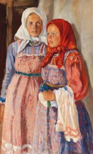 Nikolai Borisovich Terpsikhorow (1890–1960) , Two peasant girls oil on canvas, 87 x 52.5 cm, estimate € 10,000 – 15,000
