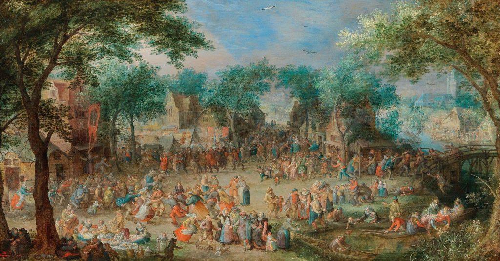 Beim dörflichen Kirchweihfest ist für jeden etwas dabei. Bauern feiern ausgelassen auf dem Dorfplatz, feine Herrschaften unternehmen eine Bootsfahrt und auch für Liebespaare ist Platz, die im Schatten der Bäume der Zweisamkeit frönen wollen.