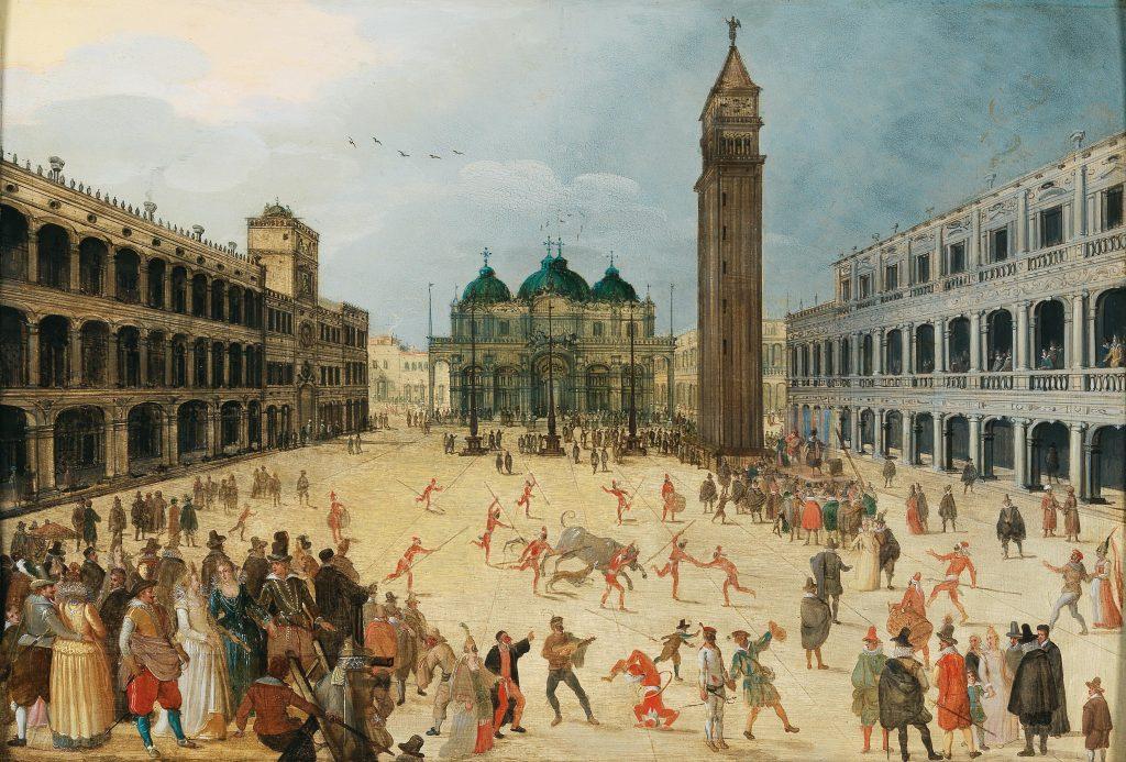 Beim Venezianischen Karneval auf dem Markusplatz will jedermann und jederfrau feiern: Im Zentrum des Gemäldes wird ein Stierkampf abgehalten, während Akrobaten ihr Geschick zum Besten geben und Bürger und Edelleute dem bunten Treiben beiwohnen.