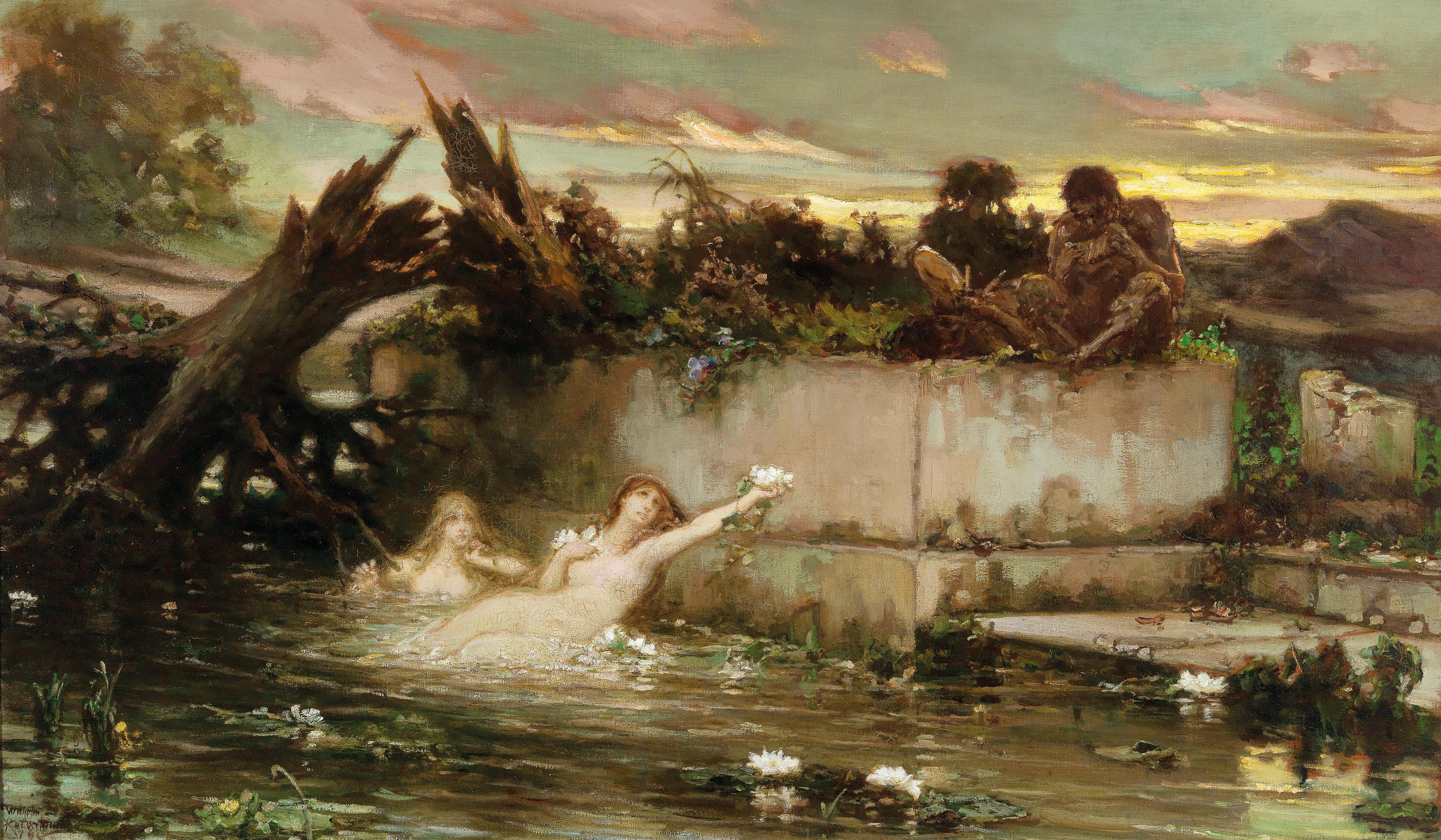 Wilhelm Kotarbiński (1849–1921) Sunset, Nereids and flute playing fauns in the twilight, 1903 (?) oil on canvas 94.5 x 160.5 cm, estimate € 45,000 – 65,000