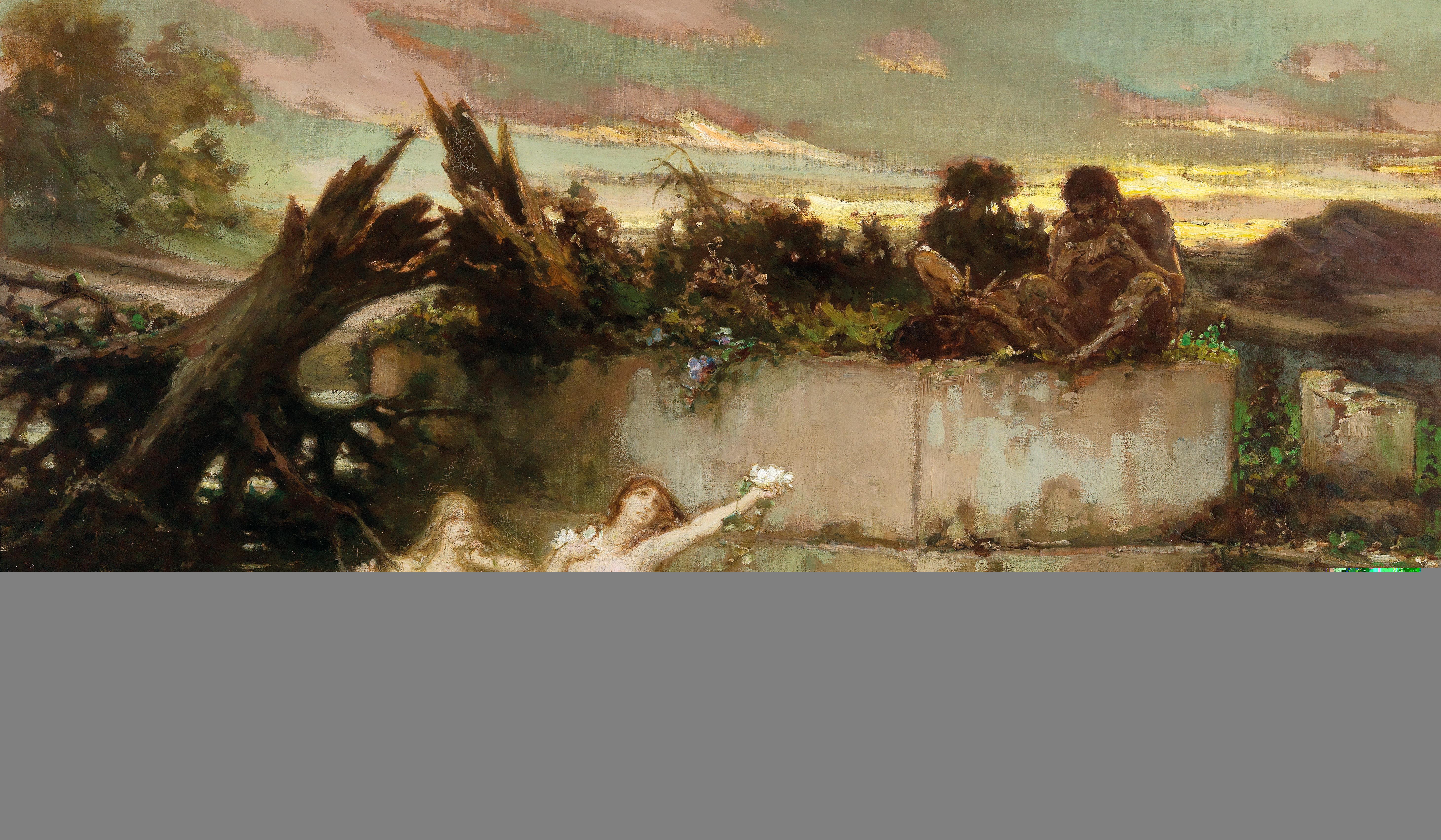 Wilhelm Kotarbinsky, Sonnenuntergang, Nereiden und Flöte spielender Faune in der Dämmerung, 1903, Schätzwert € 45.000 – 65.000